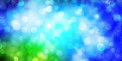 lichtblauw, groen vectorpatroon met cirkels.