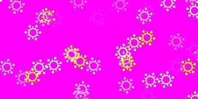 lichtroze, gele vectorachtergrond met covid-19 symbolen.