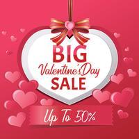 Grote Valentijnsdag verkoop, Poster sjabloon vectorillustratie