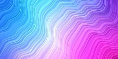 lichtroze, blauw vectorpatroon met gebogen lijnen.