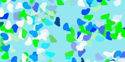 lichtblauwe, groene vectorachtergrond met willekeurige vormen. vector