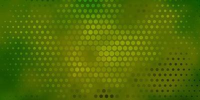 donkergroen, geel vectorpatroon met cirkels. vector