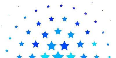 lichtroze, blauwe vectorachtergrond met kleine en grote sterren. vector