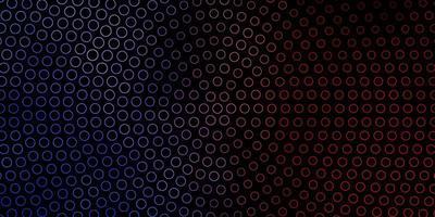 donkerblauwe, rode vectorachtergrond met cirkels.