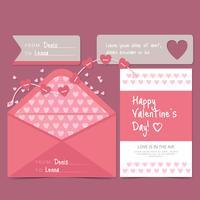 Vector Valentijnsdag kaart en envelop
