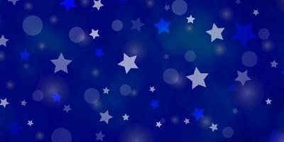lichtblauwe vectorlay-out met cirkels, sterren. vector