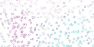 lichtroze, blauwe vector abstracte textuur met bladeren.