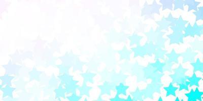 lichtroze, blauw vectormalplaatje met neonsterren.