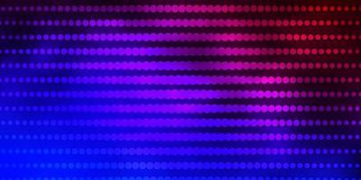 donkerblauwe, rode vectorachtergrond met cirkels. vector