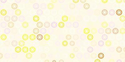 lichtroze, gele vectorachtergrond met mysteriesymbolen.