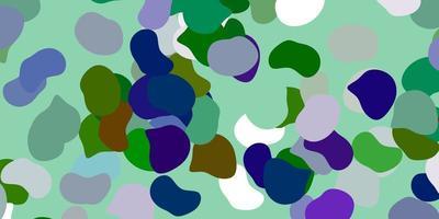 lichtblauwe, groene vectorachtergrond met willekeurige vormen.