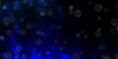 donkerblauwe vectorachtergrond met bellen.