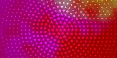 lichtroze, geel vectorpatroon met abstracte sterren.