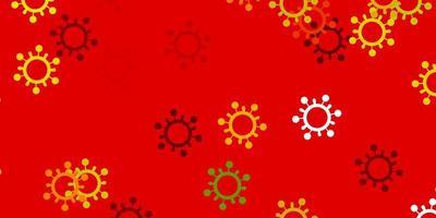 lichtgroen, rood vectorpatroon met coronaviruselementen.