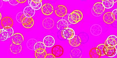 lichtroze, gele vectorachtergrond met occulte symbolen. vector