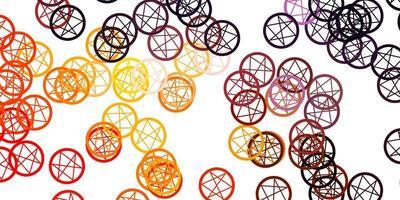 lichtroze, gele vectorachtergrond met mysteriesymbolen. vector