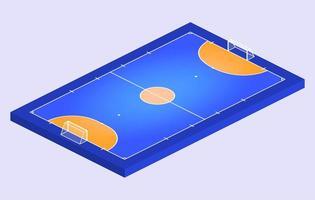 isometrisch perspectiefzichtveld voor zaalvoetbal. oranje omtrek van lijnen futsal veld vectorillustratie.