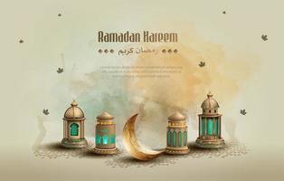 islamitische groeten ramadan kareem kaart ontwerpsjabloon vector