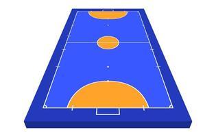 perspectiefzichtveld voor zaalvoetbal. oranje omtrek van lijnen futsal veld vectorillustratie.