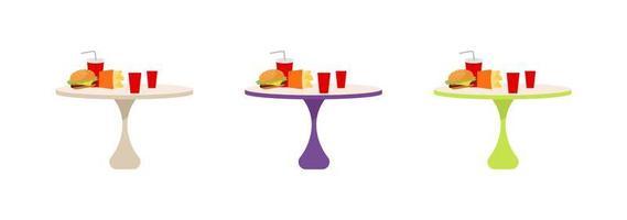 fast food tafels platte objecten instellen vector