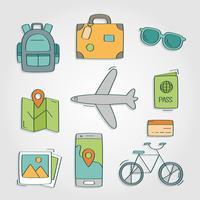 Vakantiereizen en toeristische elementen vector