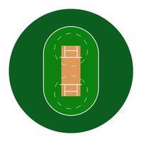 cricketveld. eenvoudig symbool en achtergrond. vector illustratie geïsoleerd op een witte achtergrond.