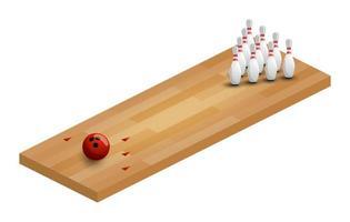 een vectorillustratie van een isometrische bowlingbaan. bowlingbaan isometrisch met bal en pinnen vector