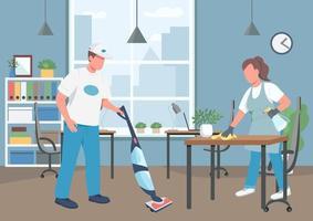 kantoor schoonmaken huis illustratie