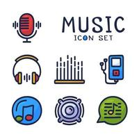 hand getekend cartoon set van muziek audio gerelateerde vector lijn iconen. bevat pictogrammen zoals notitie, schijf, microfoon en meer.