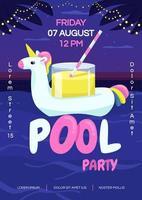 nacht zwembad partij poster platte vector sjabloon