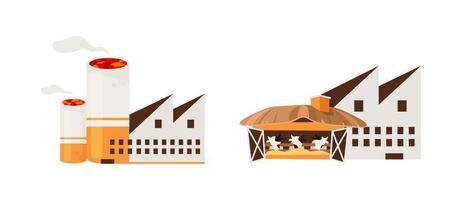 objecten in de tabaks- en vleesindustrie vector