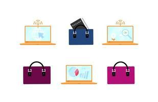 zakelijke accessoires en laptops ingesteld vector