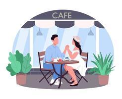 romantisch diner 2d vector webbanner, poster