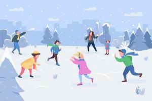 sneeuwballengevecht semi platte vectorillustratie