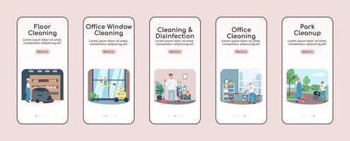 schoonmaakbedrijf onboarding mobiele app scherm platte vector sjablonen