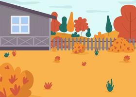 herfst huis achtertuin semi platte vectorillustratie