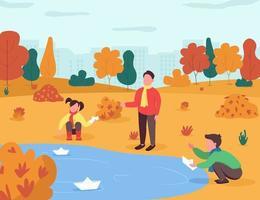 herfstentertainment voor kinderen semi platte vectorillustratie