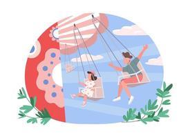 kinderen op attractie 2d vector webbanner, poster