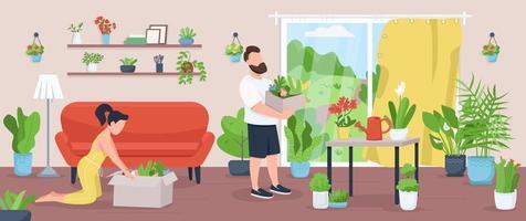 huis tuin egale kleur vectorillustratie