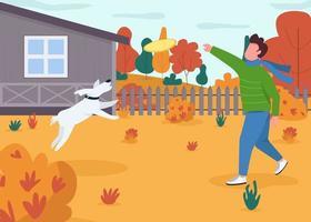 eigenaar spelen met hond semi platte vectorillustratie