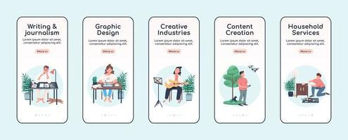creatieve activiteiten onboarding mobiele app scherm platte vector sjabloon