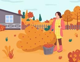 herfst tuin semi platte vectorillustratie