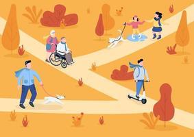 herfst park egale kleur vectorillustratie