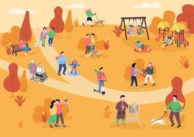 rust in de herfst park egale kleur vectorillustratie