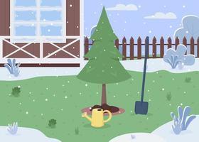 winter achtertuin semi platte vectorillustratie