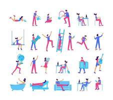 mensen besteden vrije tijd egale kleur vector gezichtsloze tekenset