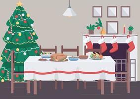 Kerstdiner tafel egale kleur vectorillustratie