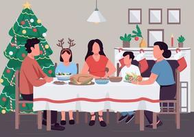 Kerst familie diner egale kleur vectorillustratie