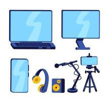 apparatuur voor vlogger egale kleur vector-object ingesteld vector