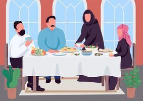 moslim familie diner egale kleur vectorillustratie